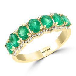 Effy Yellow Gold Emerald and Diamond Seven Stone Ring 1/5ctw