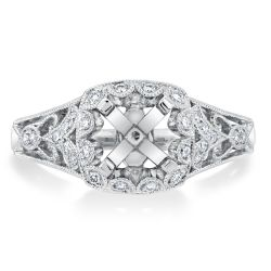 Ellaura Design Diamond Scalloped Halo Semi-Mount 1/5ctw