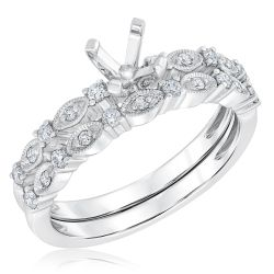 Ellaura Design Round Diamond Milgrain Semi-Mount Bridal Set 1/4ctw