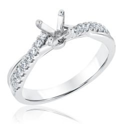 Ellaura Design Round Diamond Twist Semi-Mount Ring 1/4ctw
