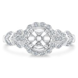 Ellaura Design Round Diamond Vintage Inspired Semi-Mount 1/4ctw