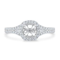 Ellaura Design White Gold Diamond Halo Semi-Mount Ring 1/2ctw