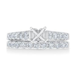 Ellaura Design White Gold Diamond Round Semi-Mount Bridal Set 1ctw