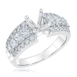 Ellaura Design White Gold Diamond Semi-Mount Ring 1 1/2ctw