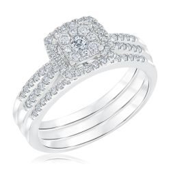 Ellaura Harmony Multitop Cushion Engagement and Wedding Ring 1/2ctw