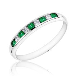 Emerald and Diamond Channel Set Band 1/15ctw