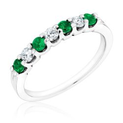 Emerald and Diamond Prong Set Band 1/5ctw