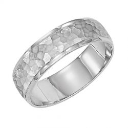 REEDS Priority Engraved Platinum Hammered Finish and Round Edge Band, 6mm