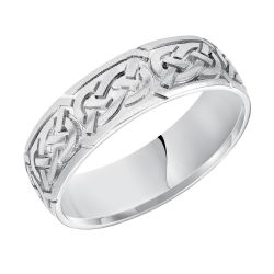 REEDS Priority Engraved White Gold Celtic Knot Satin Finish Comfort Fit Band, 6.5mm