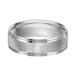 REEDS Priority Engraved White Gold Diagonal Satin Finish Comfort Fit Band, 6mm