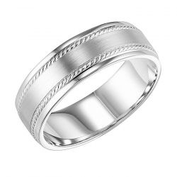 REEDS Priority Engraved White Gold Satin Finish Rope Accent Comfort Fit Band, 6mm