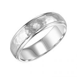 REEDS Priority Engraved White Gold Satin Hammered Finish Comfort Fit Band, 6mm