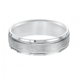 REEDS Priority Engraved White Gold Wire Finish Comfort Fit Band, 6mm