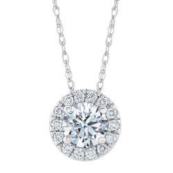 Exclusive REEDS ECONIC Lab Grown Round Diamond Halo Pendant Necklace 1/2ctw with IGI Grading Report