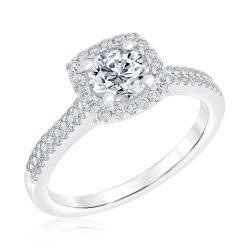 Exclusive REEDS Signature Round Diamond Halo Engagement Ring 1ctw