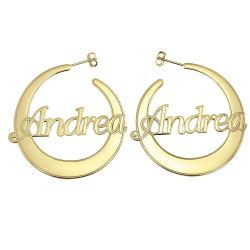 Flattened Hoop Earrings 40mm