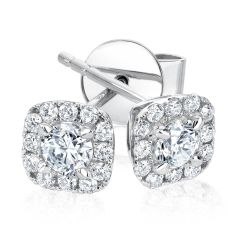 Forevermark Center of My Universe Cushion Halo Earrings 1/2ctw