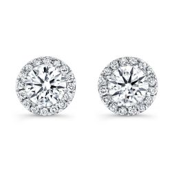 Forevermark Center of My Universe Round Diamond Halo Earrings 5/8ctw