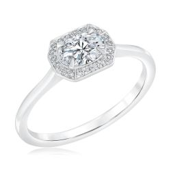 Forevermark East-West Oval Diamond Halo Engagement Ring 5/8ctw