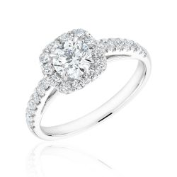 Forevermark Round Diamond Cushion Halo Ring 1ctw
