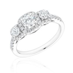 Forevermark Three Round Diamond Cushion Halo Ring 7/8ctw