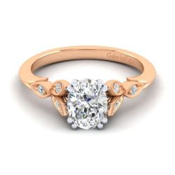 Gabriel & Co. Celia Rose Gold Diamond Milgrain Semi-Mount Engagement Ring 1/15ctw