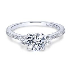 Gabriel & Co. Chantal Diamond Three Stone Semi-Mount Engagement Ring 3/8ctw