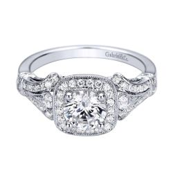 Gabriel & Co. Delilah Diamond Milgrain Halo Semi-Mount Engagement Ring 1/3ctw