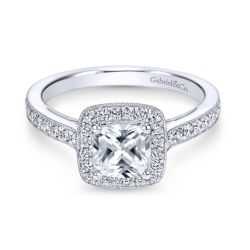 Gabriel & Co. Harper Diamond Halo Cushion Semi-Mount Engagement Ring 3/8ctw