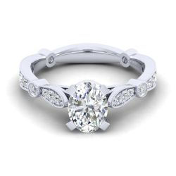 Gabriel & Co. Mabel Diamond Milgrain Oval Semi-Mount Engagement Ring 1/3ctw
