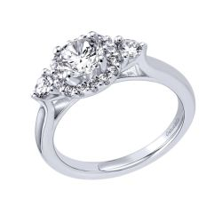 Gabriel & Co. Martine Diamond Three Stone Halo Semi -Mount Engagement Ring 3/8ctw