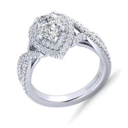 Gabriel & Co. Pippa Diamond Double Halo Pear Semi-Mount Engagement Ring 5/8ctw