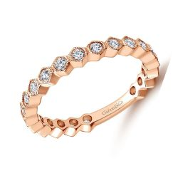 Gabriel & Co. Rose Gold Diamond Wedding Band 1/2ctw