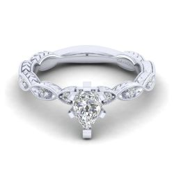 Gabriel & Co. Sadie Diamond Milgrain Pear Semi-Mount Engagement Ring 1/8ctw