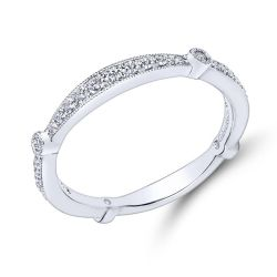 Gabriel & Co. White Gold Diamond Milgrain Wedding Band 1/4ctw