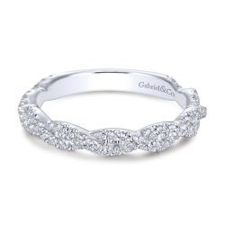 Gabriel & Co. White Gold Diamond Twisted Wedding Band 3/8ctw