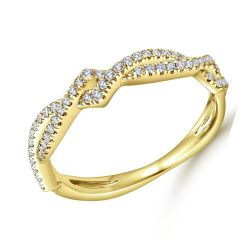Gabriel & Co. Yellow Gold Diamond Entwined Wedding Band 1/5ctw