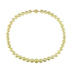 Graduated Round Cultured Golden South Sea Pearl Necklace