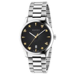 d1f73066f46 image of Gucci G-Timeless Stainless Steel Black Dial Watch YA1264029 with  sku 19952241
