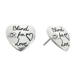 0644d254104 Gucci Sterling Silver Blind for Love Engraved Heart Stud Earrings ...