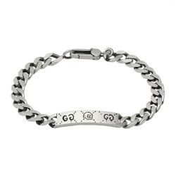 0b09366ef0736 image of Gucci Sterling Silver Ghost Motif ID Chain Bracelet with  sku 19756287