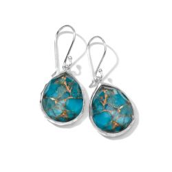 IPPOLITA Silver Rock Candy Mini Teardrop Earrings in Bronze Turquoise Doublet
