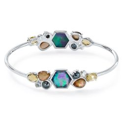 IPPOLITA Silver Rock Candy Double Stone Cluster Bangle in Positano