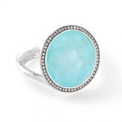IPPOLITA Silver Lollipop Ring with Diamonds in Turquoise Doublet 1/4ctw - Size 7