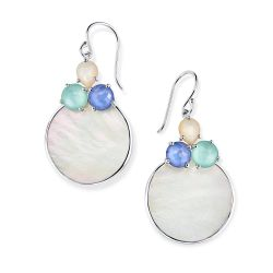 IPPOLITA Wonderland Overlapping Shell and Stone Earrings in Brazilian Blue