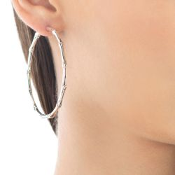John Hardy Bamboo Extra Large Hoop Earrings in Sterling Silver