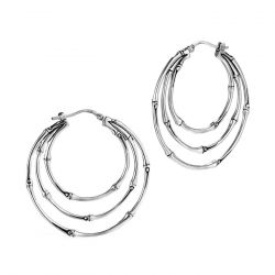 John Hardy Bamboo Medium Orbital Hoop Earrings in Sterling Silver