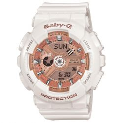 Ladies' Casio Baby-G Ani-Digi White Resin Champagne Dial Watch BA110-7A1