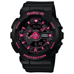 Ladies' Casio Baby-G Black and Neon Pink Ana-Digi Watch BA111-1A