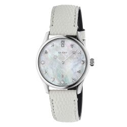 Ladies' Gucci G-Timeless Slim Diamond and Mother of Pearl Leather Strap Watch YA126597